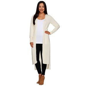 H by Halston cream v-neck button down maxi cardi
